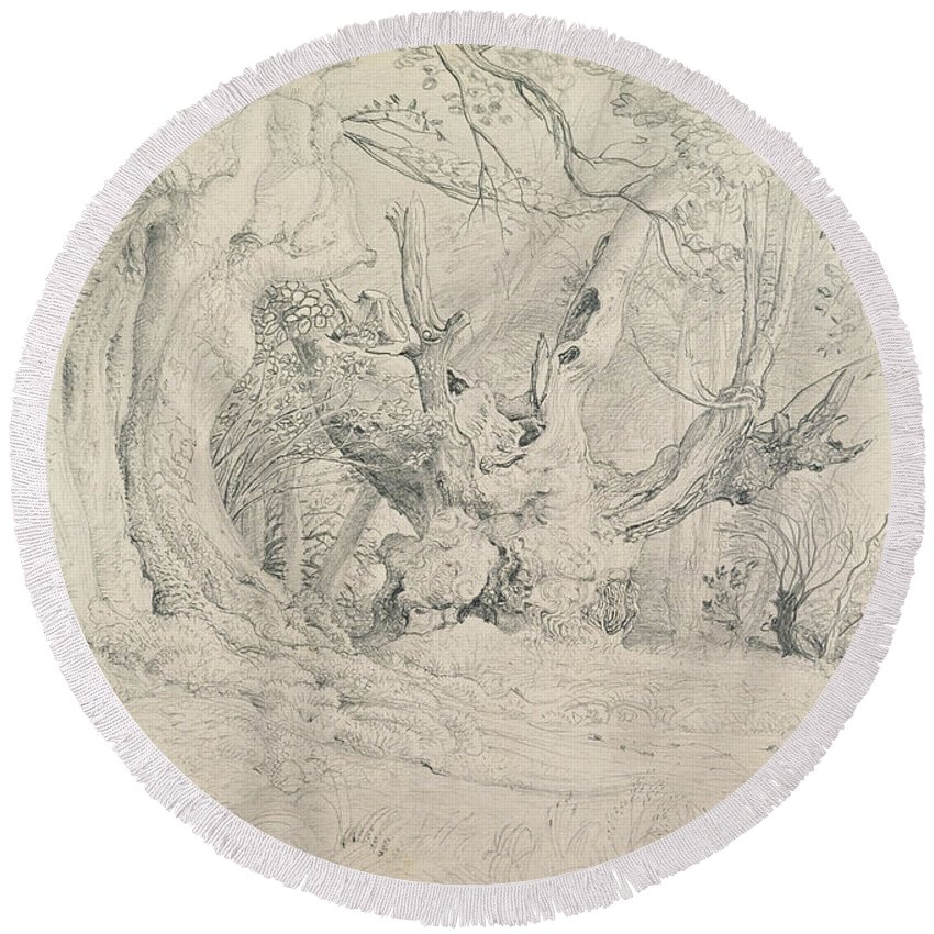 Tree Round Beach Towel featuring the painting Ancient Trees Lullingstone Park by Samuel Palmer