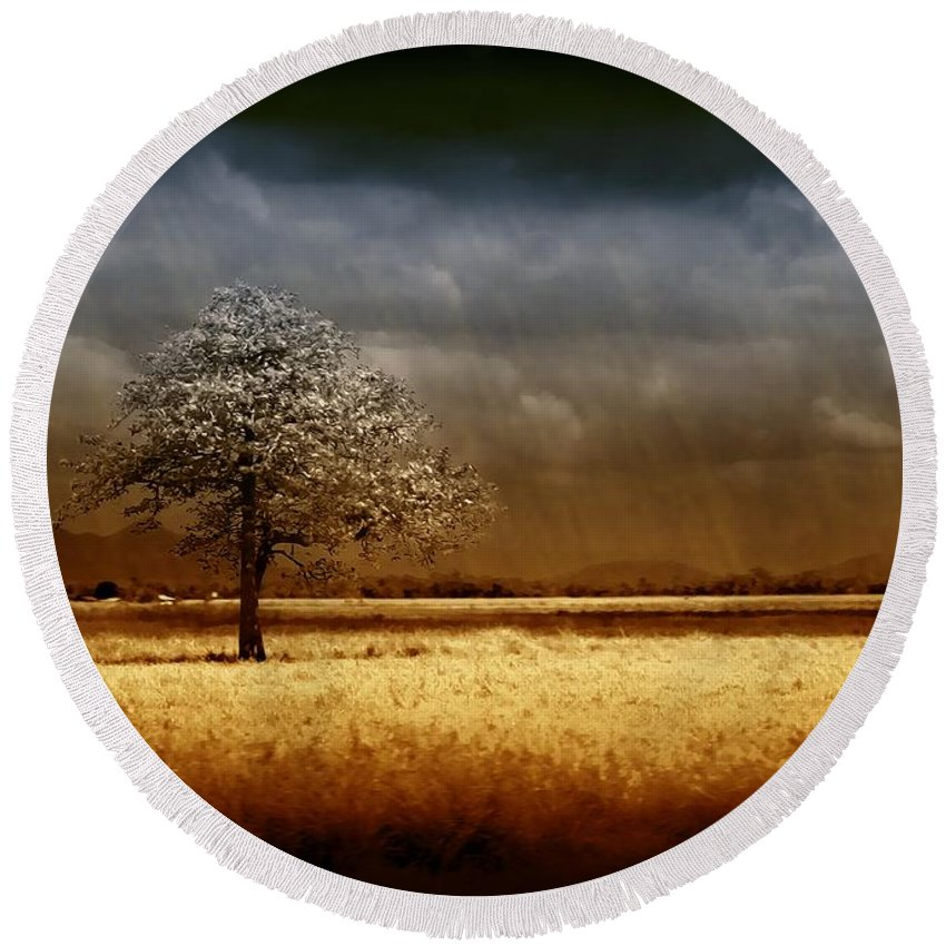 Landscapes Round Beach Towel featuring the photograph And The Rains Came by Holly Kempe