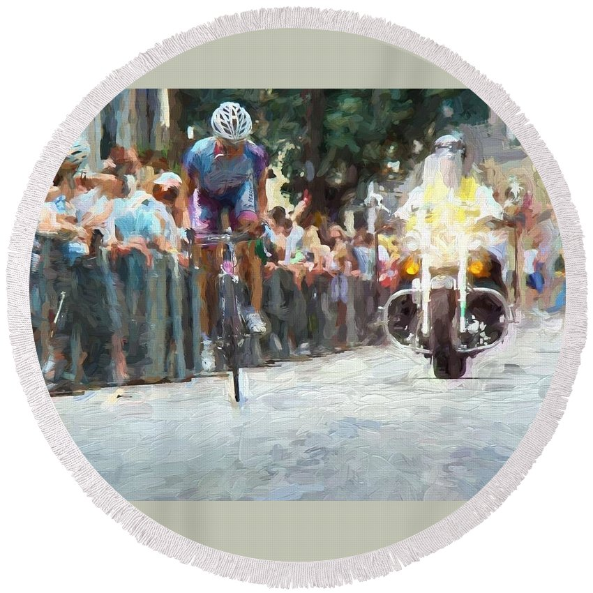 Bicycler Round Beach Towel featuring the photograph And The Winner Is by Alice Gipson