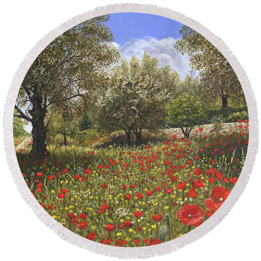 Landscape Round Beach Towel featuring the painting Andalucian Poppies by Richard Harpum