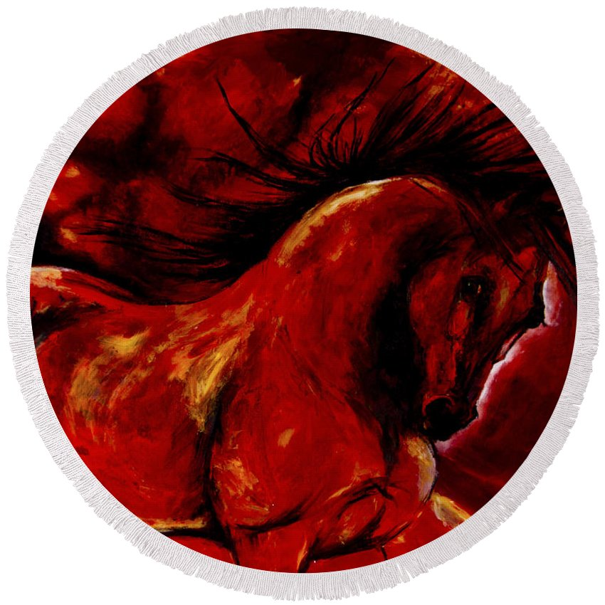 Andalusianhorse Round Beach Towel featuring the painting Andalusian Spirit by Art Imago