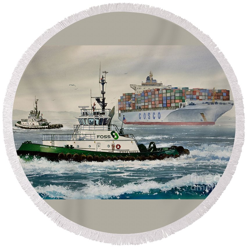 Tugs Round Beach Towel featuring the painting Andrew Foss Assisting Cosco by James Williamson