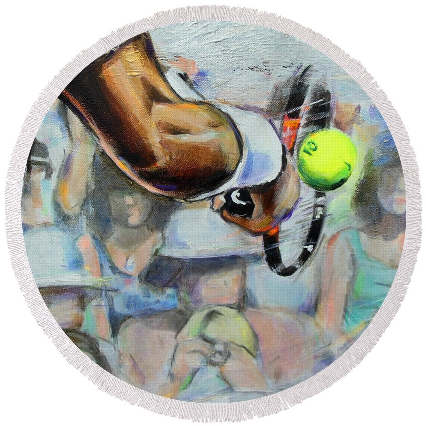 Andy Murray Round Beach Towel featuring the painting Andy Murray - Wimbledon 2013 by Lucia Hoogervorst