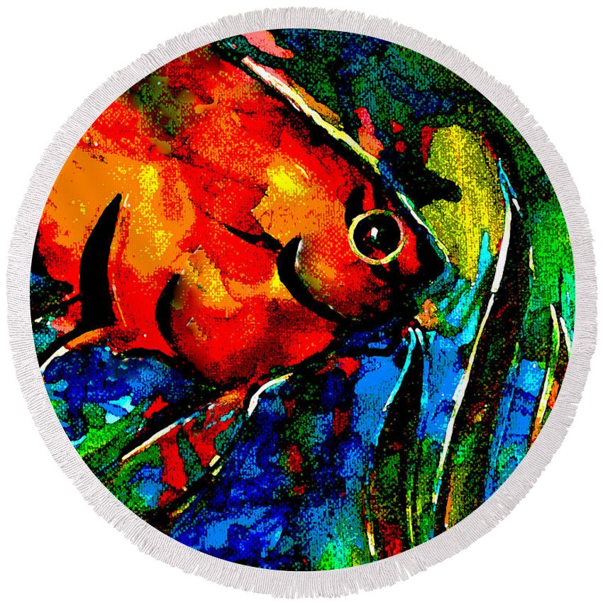 Fish Round Beach Towel featuring the digital art Angel by Art by Kar
