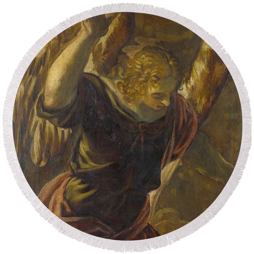 1560 Round Beach Towel featuring the painting Angel From The Annunciation To The Virgin by Tintoretto