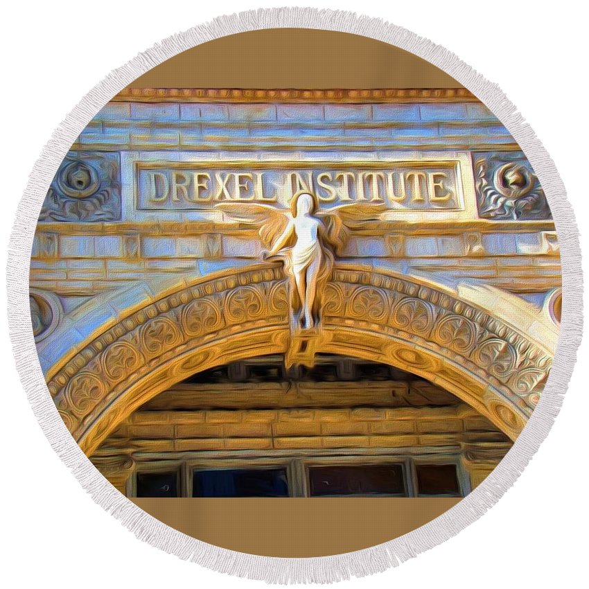 Drexel Institute Round Beach Towel featuring the photograph Angel In Drexel by Alice Gipson
