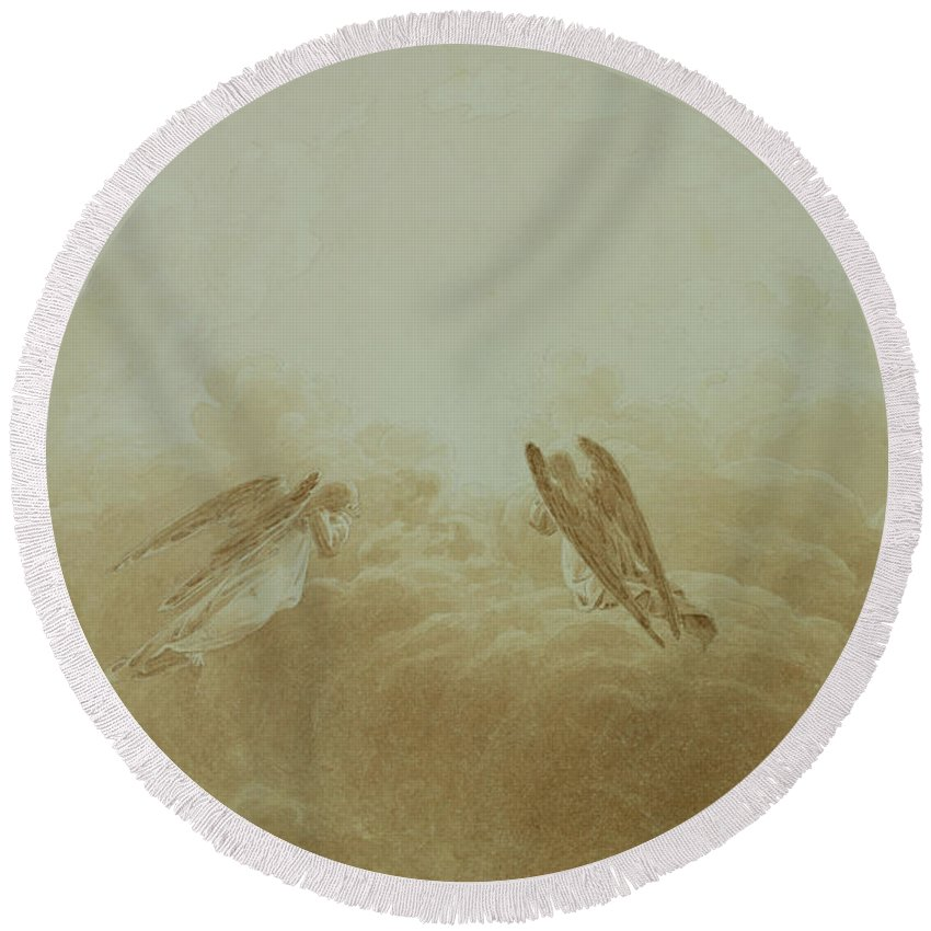 Caspar David Friedrich Round Beach Towel featuring the painting Angel In Prayer by Caspar David Friedrich