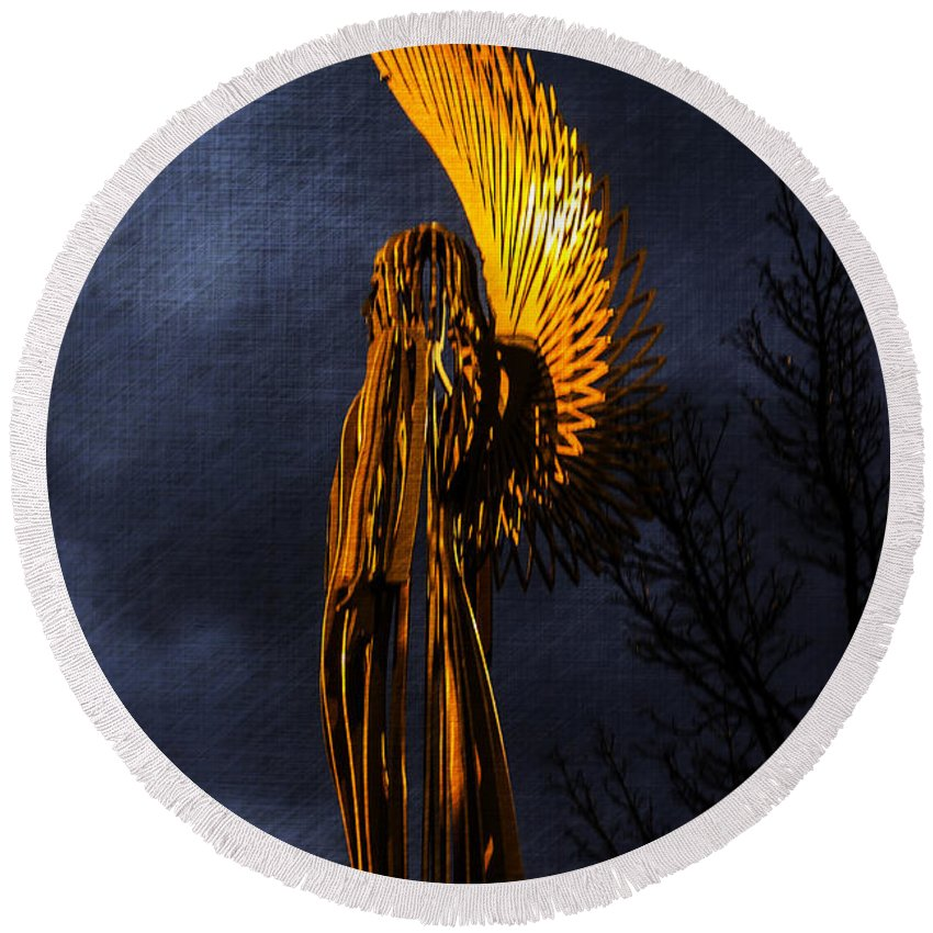 Angel Of Bargoed Round Beach Towel featuring the photograph Angel Of The Morning Textured by Steve Purnell