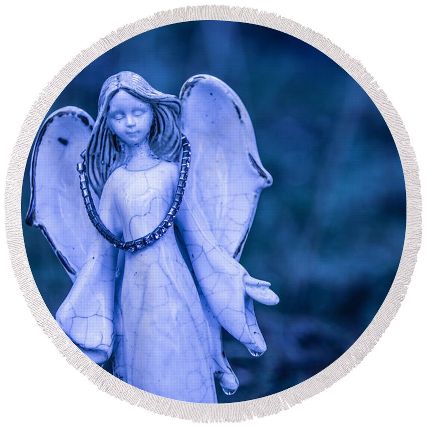Angel Round Beach Towel featuring the photograph Angel Of The Rain by Charlie Duncan