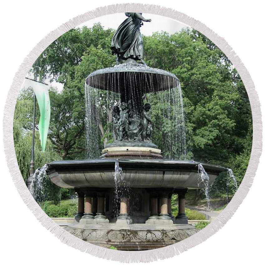 Angel Round Beach Towel featuring the photograph Angel Of The Waters Fountain by Christiane Schulze Art And Photography