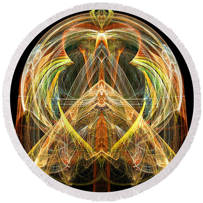 Angel Round Beach Towel featuring the digital art Angel Of Transformation And Change by Diana Haronis