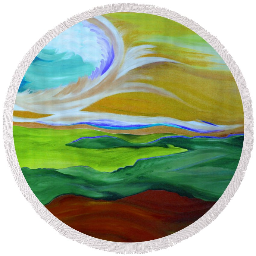 First Star Round Beach Towel featuring the painting Angel Sky Green By Jrr by First Star Art