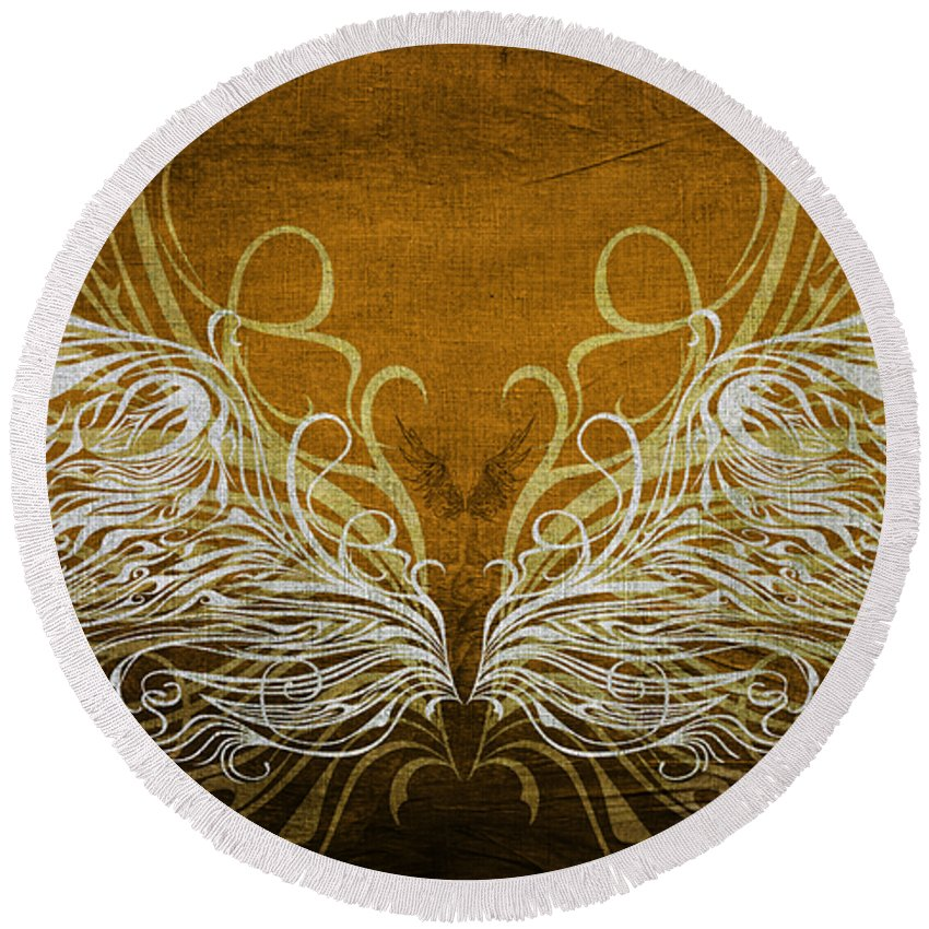 Wing Round Beach Towel featuring the mixed media Angel Wings Gold by Angelina Vick