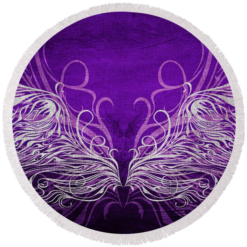 Wing Round Beach Towel featuring the mixed media Angel Wings Royal by Angelina Vick