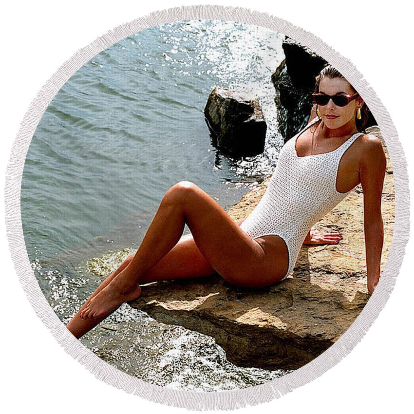 Model Round Beach Towel featuring the photograph Angelawhiterock-b by Gary Gingrich Galleries