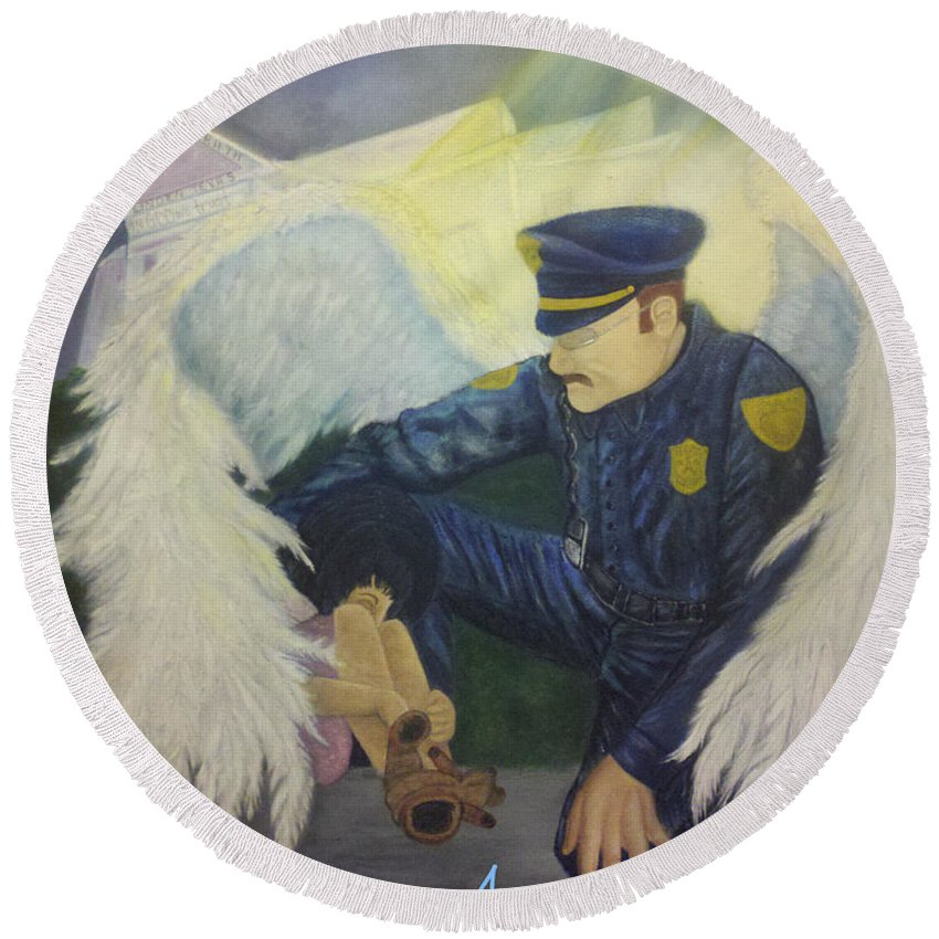 Scene Round Beach Towel featuring the painting Angels Among Us by Beverly Restelle