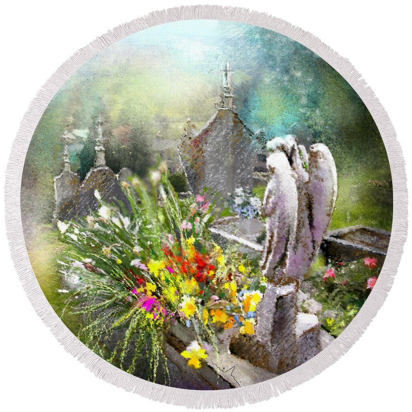 All Saints Round Beach Towel featuring the painting Angels Of Stone by Miki De Goodaboom
