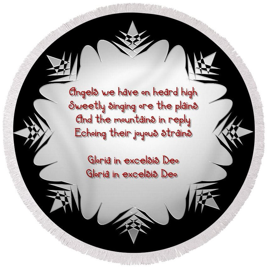 Snowflake Round Beach Towel featuring the digital art Angels We Have Heard On High Snowflake by Rose Santuci-Sofranko