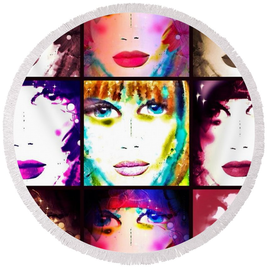 Angie December Round Beach Towel featuring the digital art Angie December by Pikotine Art