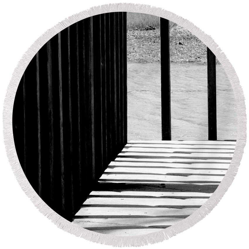Shadow Round Beach Towel featuring the photograph Angles And Shadows - Black And White by Shawna Rowe