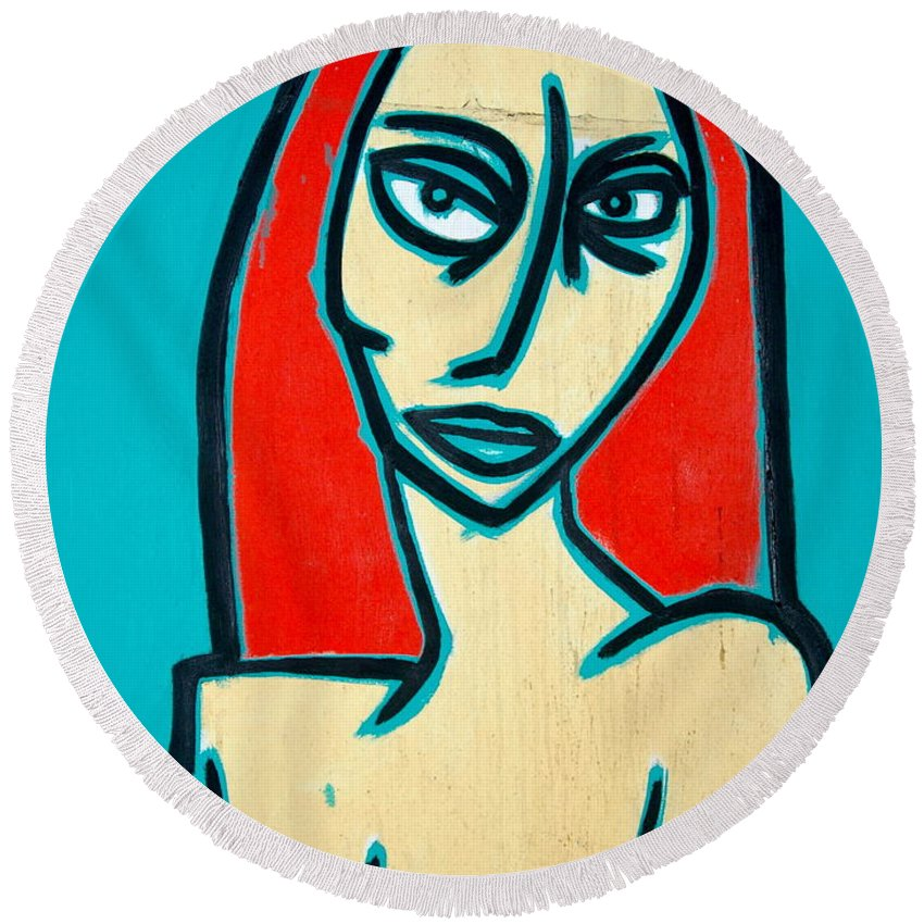 Oil Round Beach Towel featuring the painting Angry Jen by Thomas Valentine