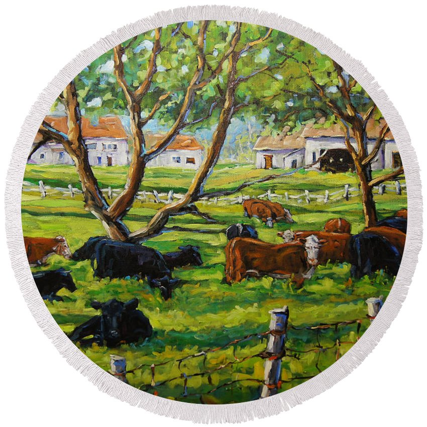 Canadian Artist Painter Round Beach Towel featuring the painting Angus Cows Under The Cool Shade By Prankearts by Richard T Pranke