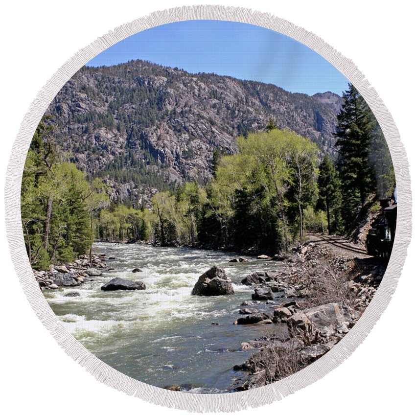 Mountains Round Beach Towel featuring the photograph Animas River by Shirley Roberson
