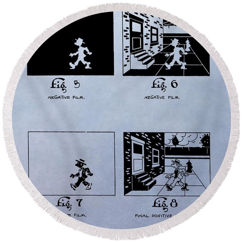 Animation Patent Round Beach Towel featuring the digital art Animation Patent by Dan Sproul