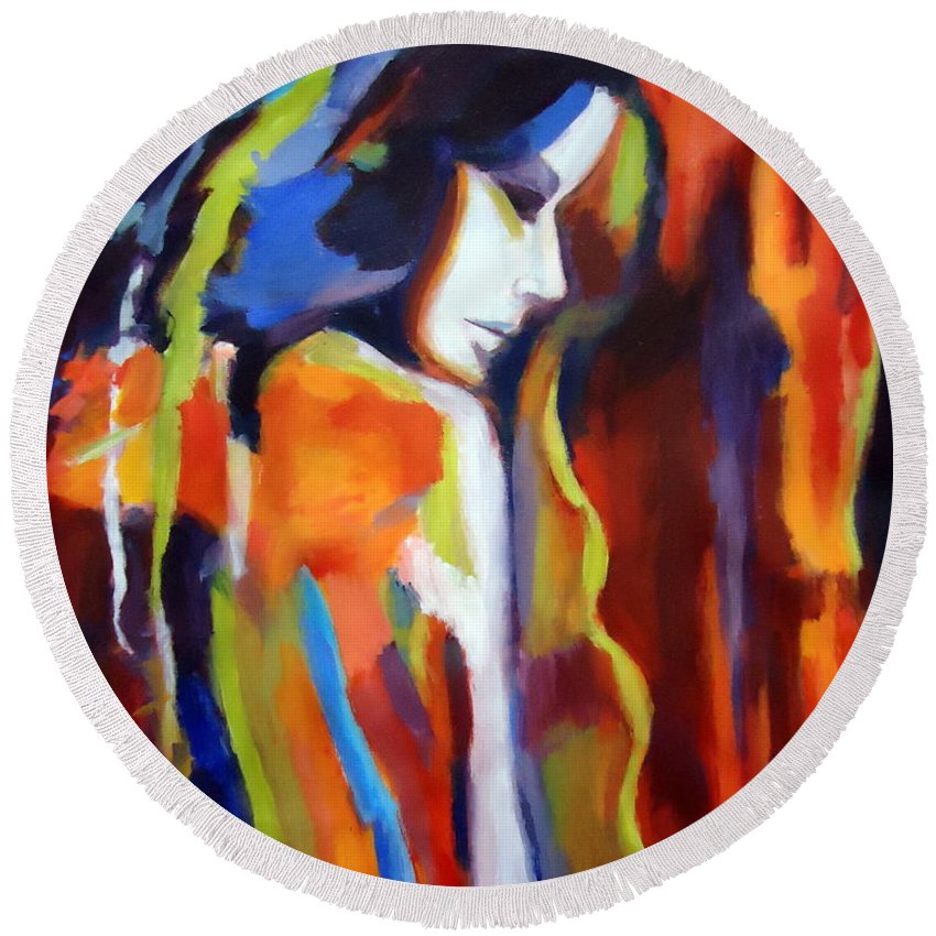 Nude Figures Round Beach Towel featuring the painting Animus by Helena Wierzbicki