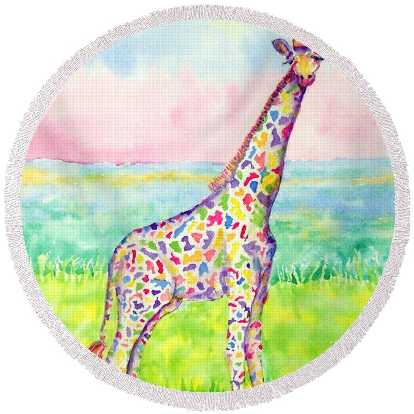 Giraffe Round Beach Towel featuring the painting Annabelle by Rhonda Leonard