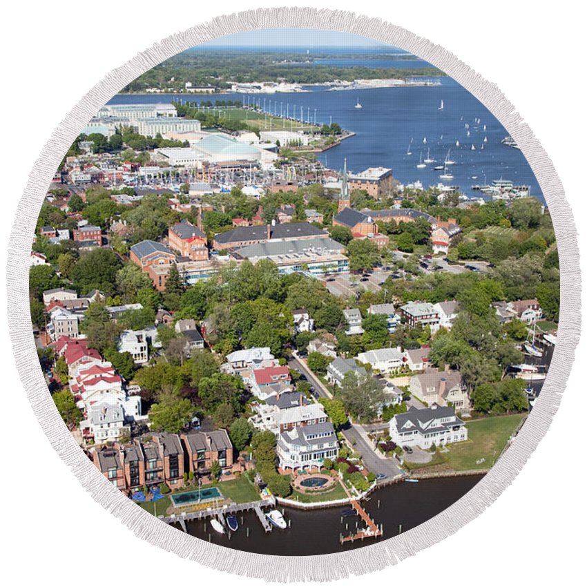 Aerial Round Beach Towel featuring the photograph Annapolis by Bill Cobb