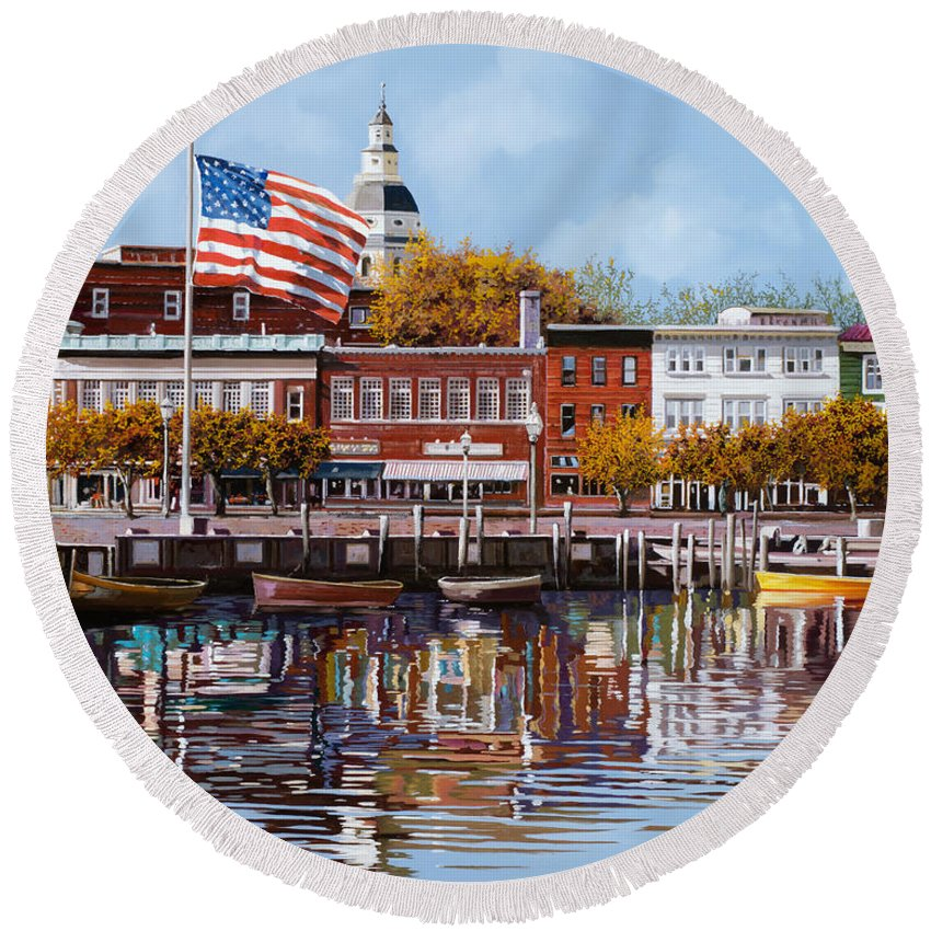 Annapolis Round Beach Towel featuring the painting Annapolis by Guido Borelli