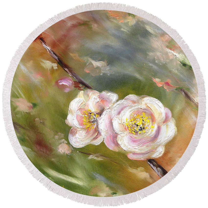 Flower Round Beach Towel featuring the painting Anniversary by Hiroko Sakai