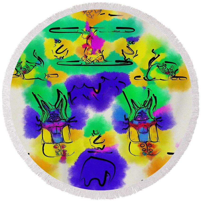 Landscape Round Beach Towel featuring the mixed media Another Blueprint In Abstract by Pepita Selles
