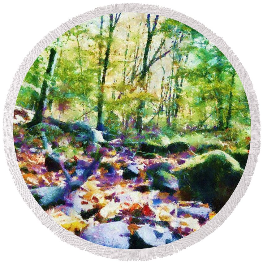 Sacredlife Mandalas Round Beach Towel featuring the painting Another Enchanted Forest by Derek Gedney