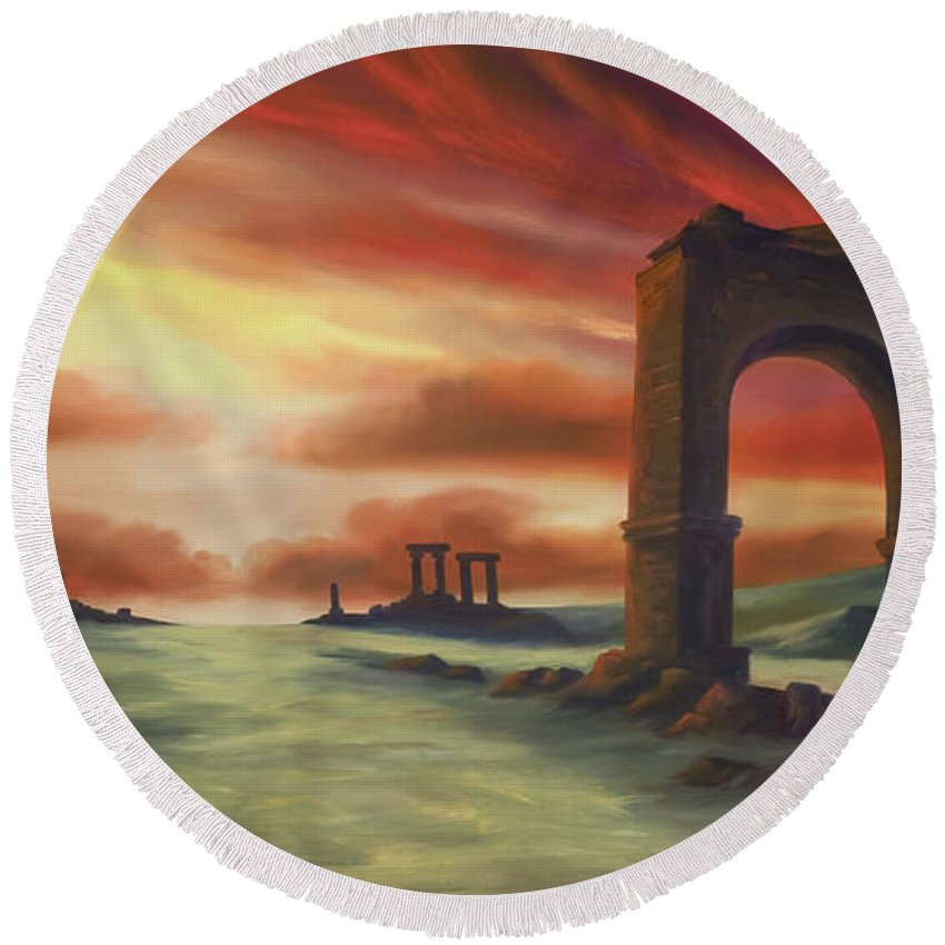 Sunset Round Beach Towel featuring the painting Another Fallen Empire by James Christopher Hill