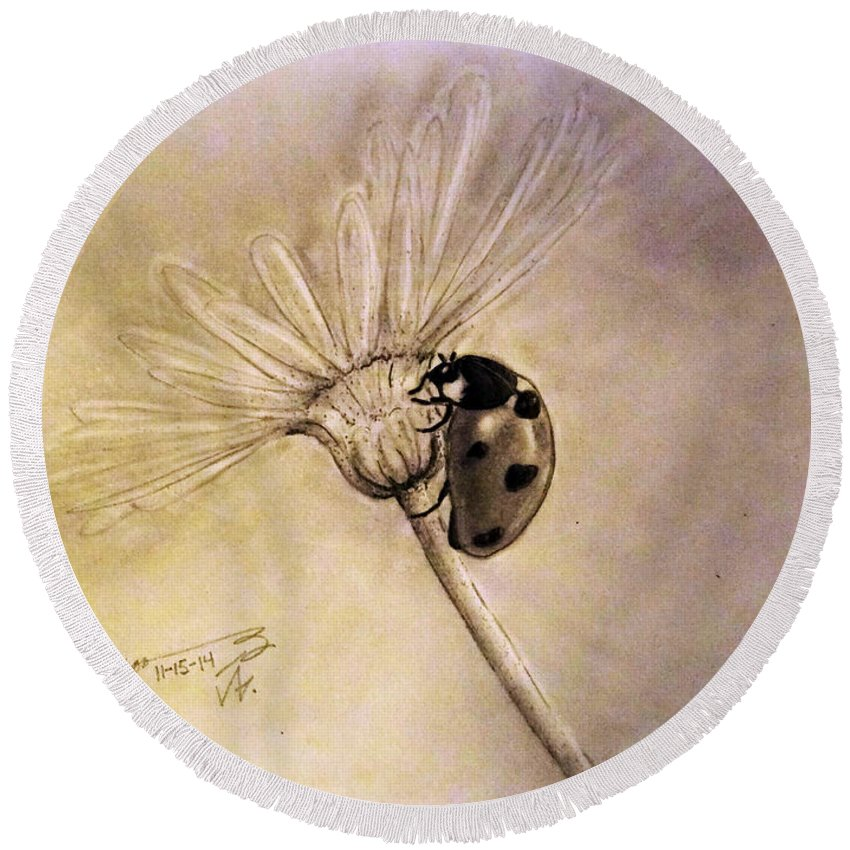 Another Ladybug Round Beach Towel featuring the drawing Another Ladybug by Jose A Gonzalez Jr