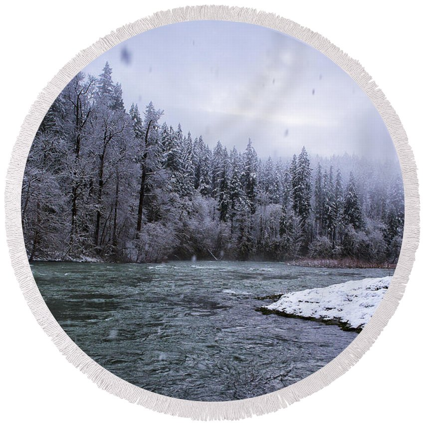 Snowy Round Beach Towel featuring the photograph Another Snowy Day by Belinda Greb