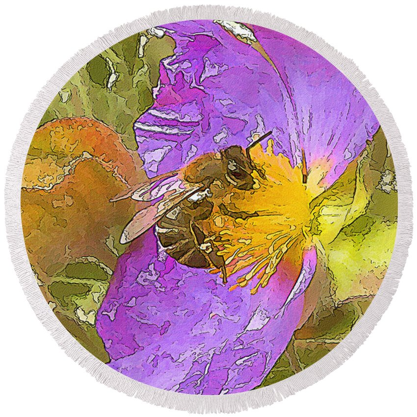 Purple Round Beach Towel featuring the painting Answer The Dance by Zygmund Zee