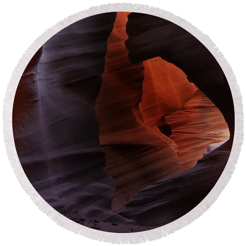 Antelope Round Beach Towel featuring the photograph Antelope Canyon 34 by Ingrid Smith-Johnsen