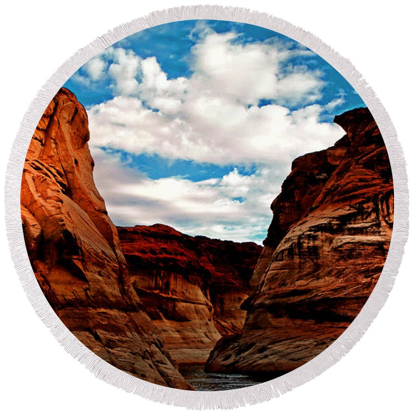 Antelope Canyon Round Beach Towel featuring the photograph Antelope Canyon by Tom Prendergast