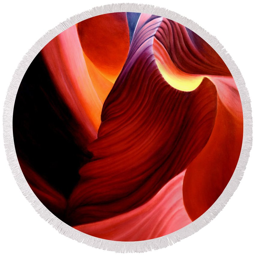 Antelope Canyon Round Beach Towel featuring the painting Antelope Magic by Anni Adkins