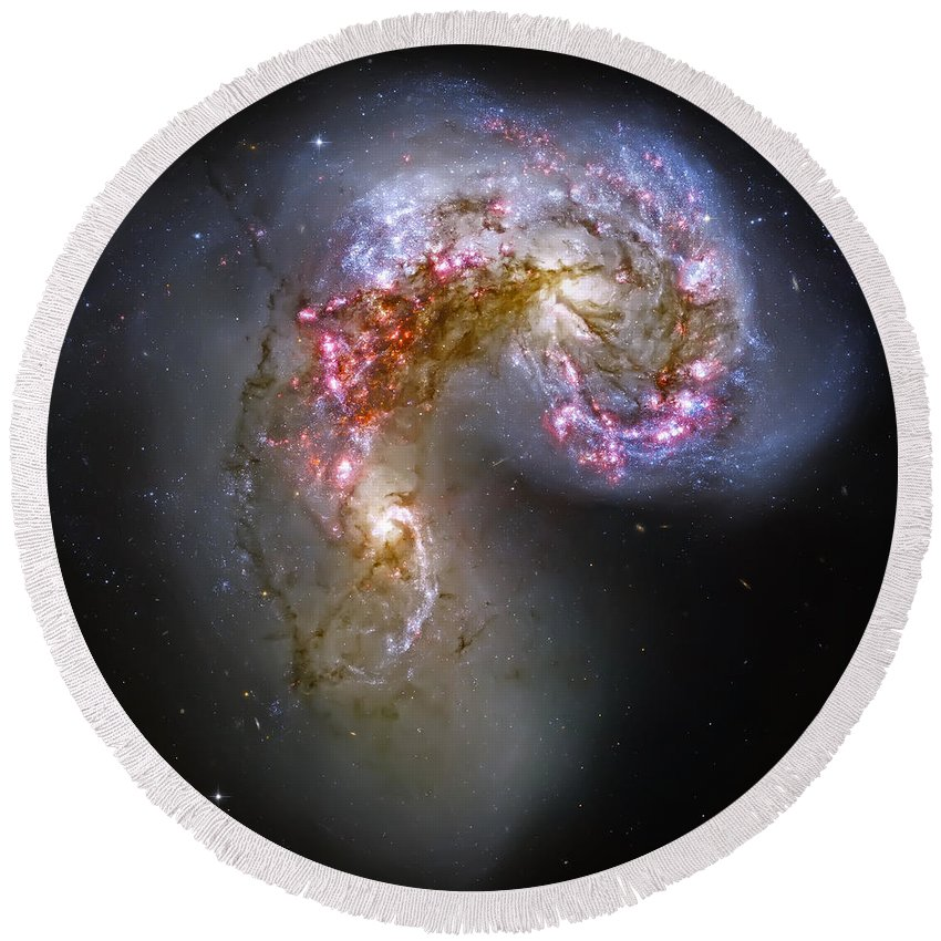 Universe Round Beach Towel featuring the photograph Antennae Galaxies Collide 1 by Jennifer Rondinelli Reilly - Fine Art Photography