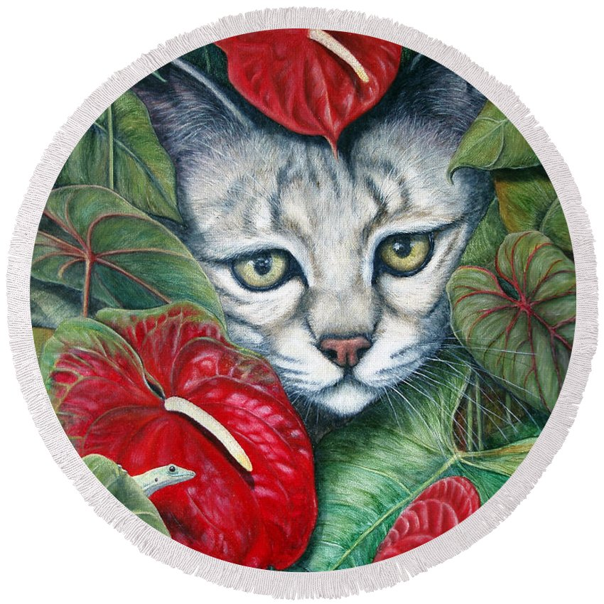 Cat Round Beach Towel featuring the painting Anthurium Assassins by Joey Nash