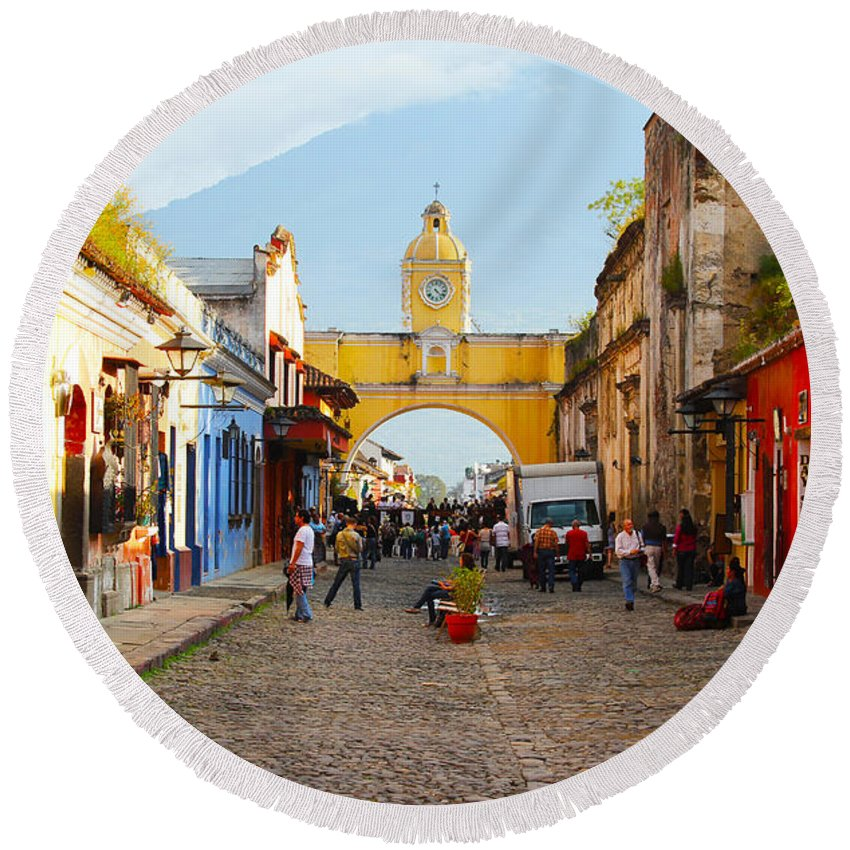 Guatemala Round Beach Towel featuring the photograph Antigua Guatemala Clock by Carey Chen
