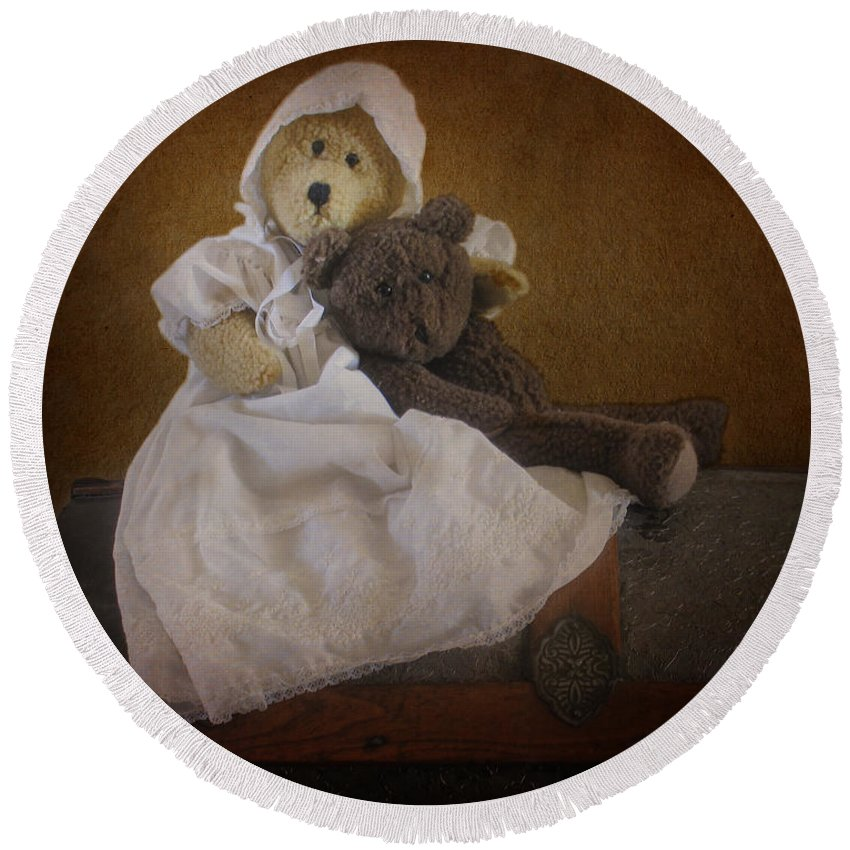 Teddy Bear Round Beach Towel featuring the photograph Antique Bears by David and Carol Kelly