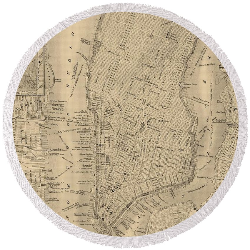 Antique Boston Map 1842 Round Beach Towel featuring the mixed media Antique Boston Map 1842 by Dan Sproul