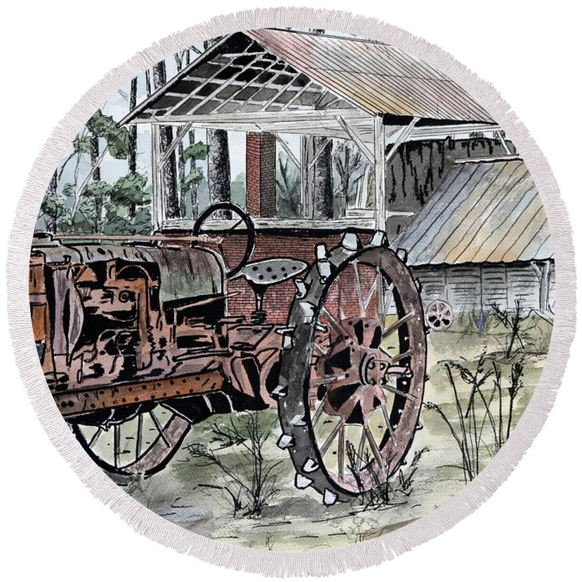 Tractor Round Beach Towel featuring the painting Antique Farm Tractor  by Derek Mccrea