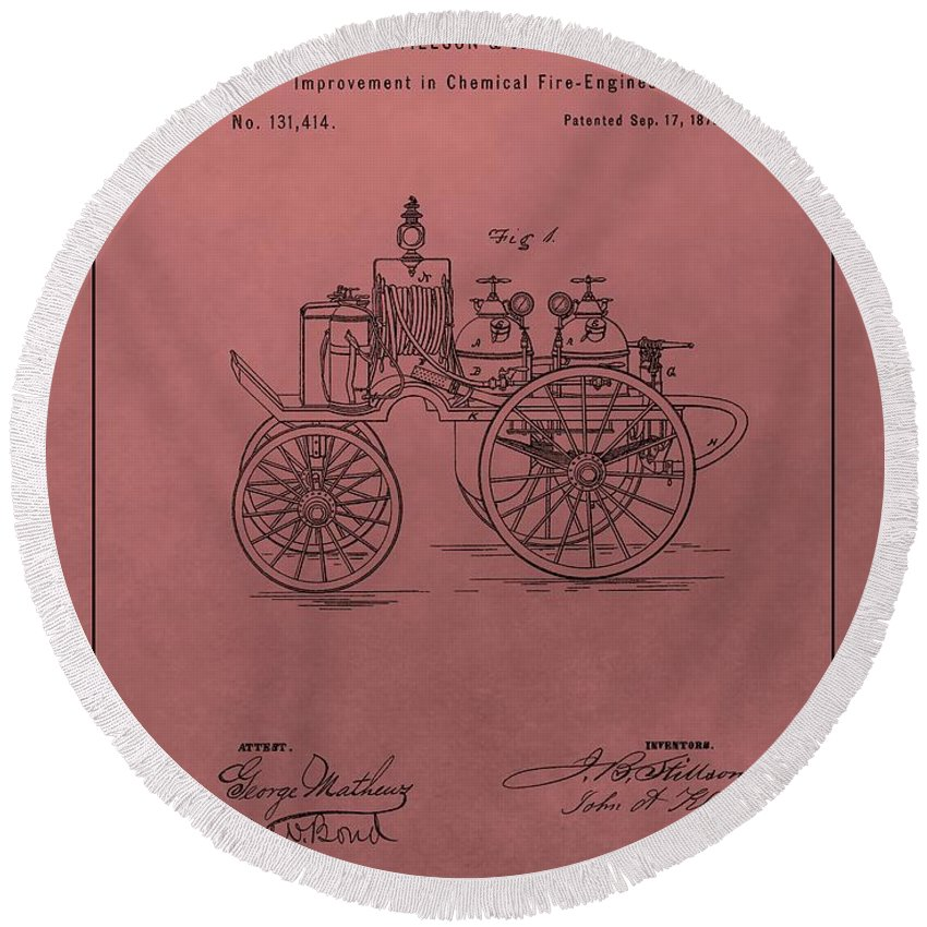 Vintage Fire Truck Patent Round Beach Towel featuring the drawing Antique Fire Engine Patent On Red by Dan Sproul