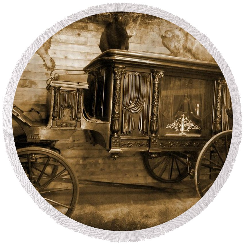 Hearse Images Round Beach Towel featuring the photograph Antique Hearse As Tintype by Crystal Loppie